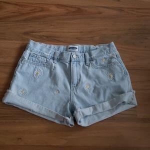 Old Navy | Flower print jean shorts- 16